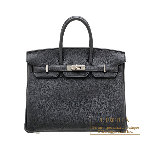 Hermes Birkin bag 25 Black Togo leather Silver hardware