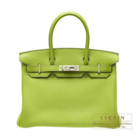 Hermes Birkin bag 30 Anis green Togo leather Silver hardware