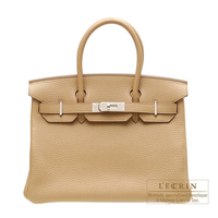 Hermes Birkin bag 30 Tabac camel Clemence leather Silver hardware
