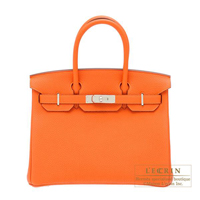 Hermes Birkin bag 30 Orange Togo leather Silver hardware