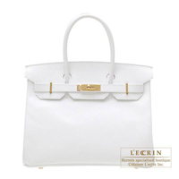 Hermes Birkin bag 30 White Epsom leather Gold hardware