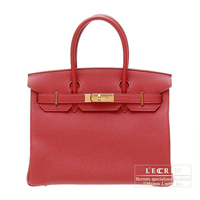 Hermes Birkin bag 30 Rouge garance Togo leather Gold hardware
