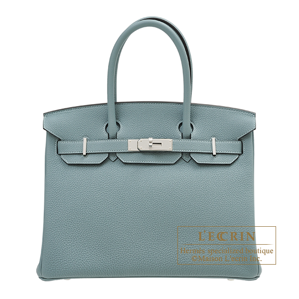 Hermes Birkin bag 30 Ciel Togo leather Silver hardware