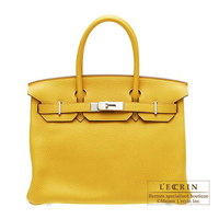 Hermes Birkin bag 30 Soleil Clemence leather Silver hardware