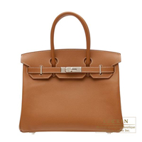 Hermes Birkin bag 30 Gold Epsom leather Silver hardware