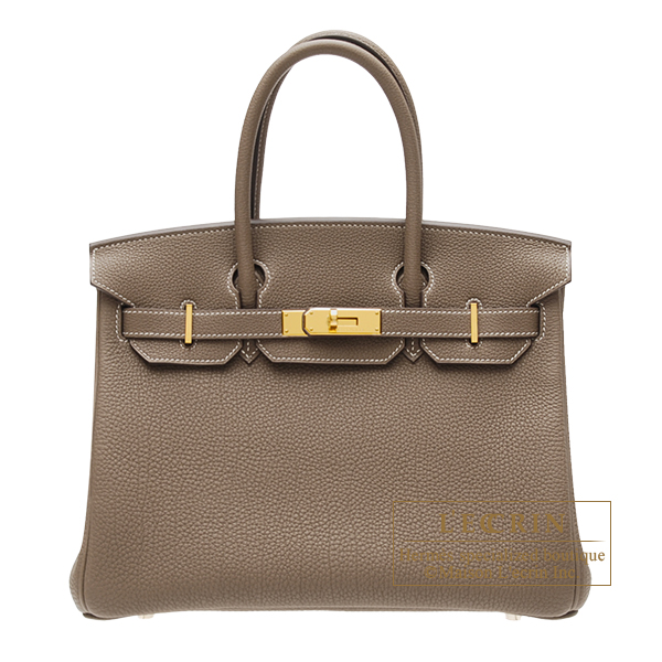 Hermes Birkin bag 30 Etoupe grey Togo leather Gold hardware