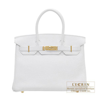 Hermes Birkin bag 30 White Clemence leather Gold hardware