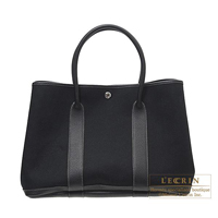 Hermes Garden Party bag PM Black Cotton canvas Silver hardware