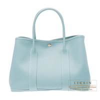 Hermes Garden Party bag PM Ciel Negonda leather Silver hardware