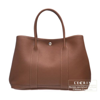 Hermes Garden Party bag PM Marron dinde Negonda leather Silver hardware