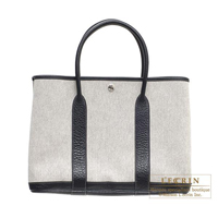 Hermes Garden Party bag PM Grey Cotton canvas Silver hardware