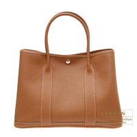 Hermes Garden Party bag PM Gold Negonda leather Silver hardware