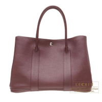 Hermes Garden Party bag PM Prune Negonda leather Silver hardware