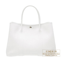 Hermes Garden Party bag PM White Buffalo sindou leather Silver hardware