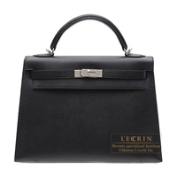 Hermes Kelly bag 32 Sellier Black Epsom leather Silver hardware