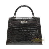 Hermes Kelly bag 25 Sellier Cocaon Niloticus crocodile skin Silver hardware