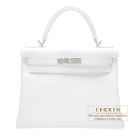Hermes Kelly bag 28 Retourne White Epsom leather Silver hardware
