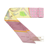 Hermes Twilly Les Voitures a transformation Jaune soufre/ Vieux rose/Vert Silk