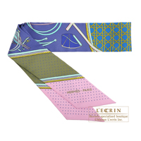 Hermes Twilly Les Voitures a transformation Encre/Kaki/Rose Silk