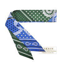 Hermes Twilly Eperon d'Or cut Vert/ White/Blue Silk