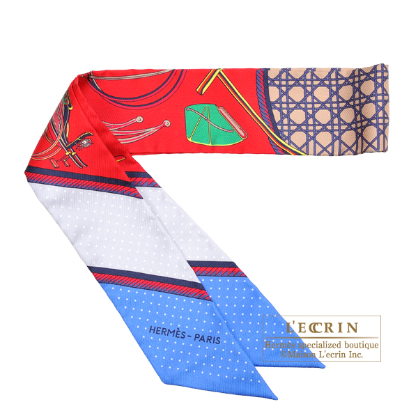 Hermes Twilly Les Voitures a transformation Rouge/Blue/Grey Silk