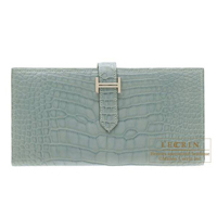 Hermes Bearn Soufflet Ciel Matt alligator crocodile skin Silver hardware
