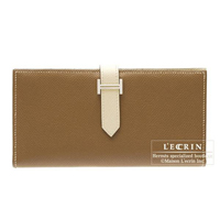Hermes Bearn Soufflet Bi-color Parchemin/Alezan Epsom leather Silver hardware