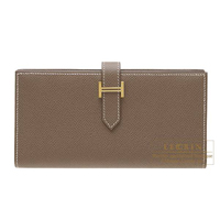 Hermes Bearn Soufflet Etoupe grey Epsom leather Gold hardware