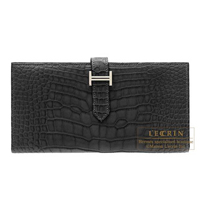 Hermes Bearn Soufflet Black Matt alligator crocodile skin Silver hardware