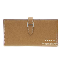 Hermes Bearn Soufflet Natural sable Epsom leather Silver hardware