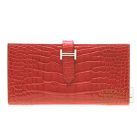 Hermes Bearn Soufflet Braise Alligator crocodile skin Silver hardware