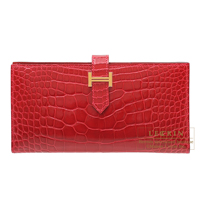 Hermes Bearn Soufflet Braise Alligator crocodile skin Gold hardware