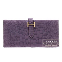Hermes Bearn Soufflet Amethyst Matt alligator crocodile skin Gold hardware