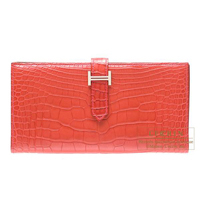 Hermes Bearn Soufflet Rouge indien Matt alligator crocodile skin Silver hardware