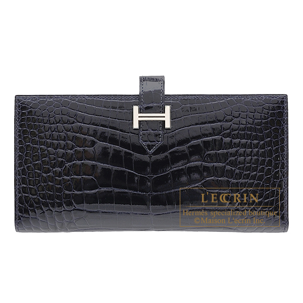 Hermes Bearn Soufflet Blue marine Alligator crocodile skin Silver hardware