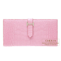 Hermes Bearn Soufflet Pink Matt alligator crocodile skin Silver hardware