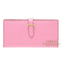 Hermes Bearn Soufflet Pink Epsom leather Gold hardware