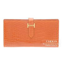 Hermes Bearn Soufflet Orange Alligator crocodile skin Gold hardware