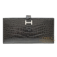 Hermes Bearn Soufflet Graphite Alligator crocodile skin Silver hardware