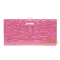 Hermes Bearn Soufflet Rose tyrien Alligator crocodile skin Silver hardware
