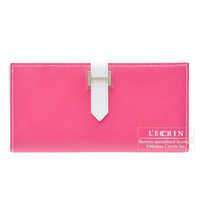 Hermes Bearn Soufflet Bi-color Rose tyrien/White Epsom leather Silver hardware