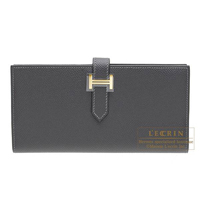 Hermes Bearn Soufflet Graphite Epsom leather Gold hardware