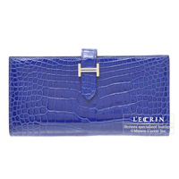 Hermes Bearn Soufflet Blue electric Alligator crocodile skin Silver hardware