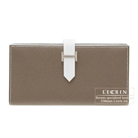 Hermes Bearn Soufflet Bi-color Etoupe grey/White Epsom leather Silver hardware