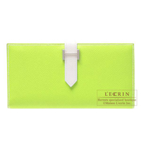 Hermes Bearn Soufflet Bi-color Kiwi/White Epsom leather Silver hardware