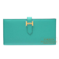 Hermes Bearn Soufflet Blue paon Epsom leather Gold hardware