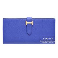 Hermes Bearn Soufflet Blue electric Epsom leather Gold hardware