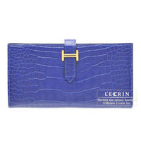 Hermes Bearn Soufflet Blue electric Alligator crocodile skin Gold hardware
