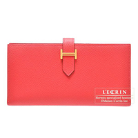 Hermes Bearn Soufflet Bougainvillier Epsom leather Gold hardware