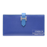 Hermes Bearn Soufflet Bi-color Blue electric/Mykonos Epsom leather Silver hardware